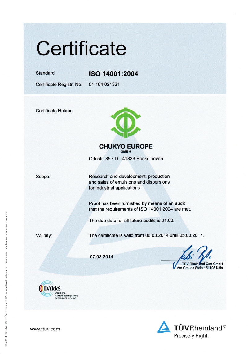 Certificate ISO 14001:2004 (GB)