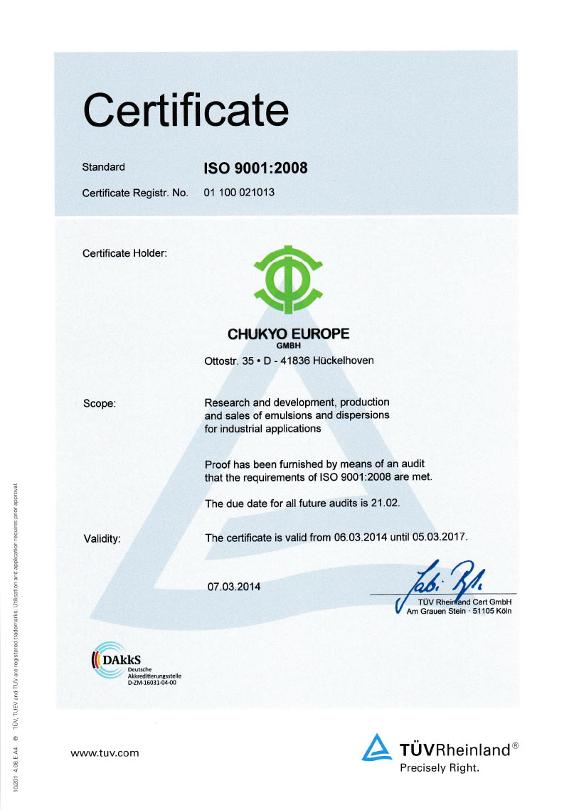 Certificate ISO 9001:2008 (GB)